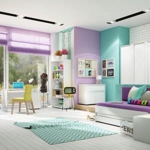 Turkusowy pokój dla nastolatków.