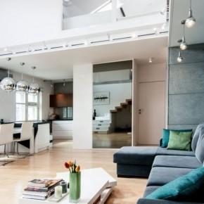 Dwupoziomowy apartament w nowoczesnym stylu.
