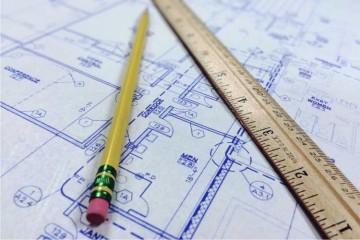 plan, projekt, linijka, ołówek z gumką,