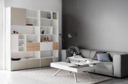 biały stolik kawowy ze schowkami, biały regał, szara sofa