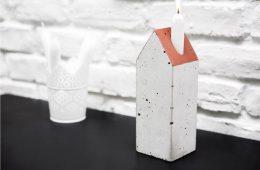 świecznik z betonu, świecznik w kształcie domu,