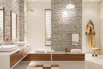kamień na ścianie w łazience