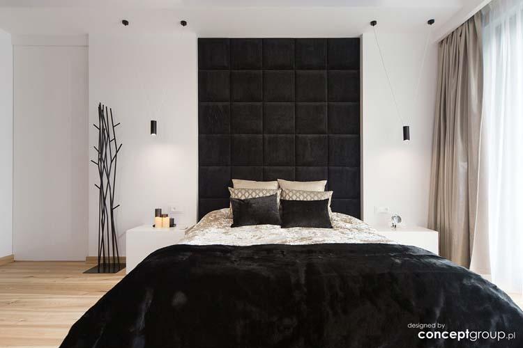 sypialnia, łóżko z węzgłowiem do sufitu