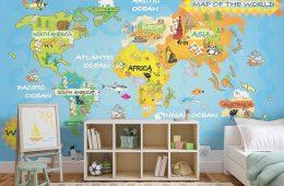 fototapeta, kolorowa mapa świata, mapa świata dla dzieci
