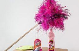 detergenty i różowa zmiotka do kurzu