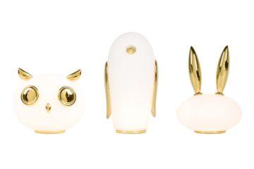 lampka w kształcie sowy, królika i pingwina