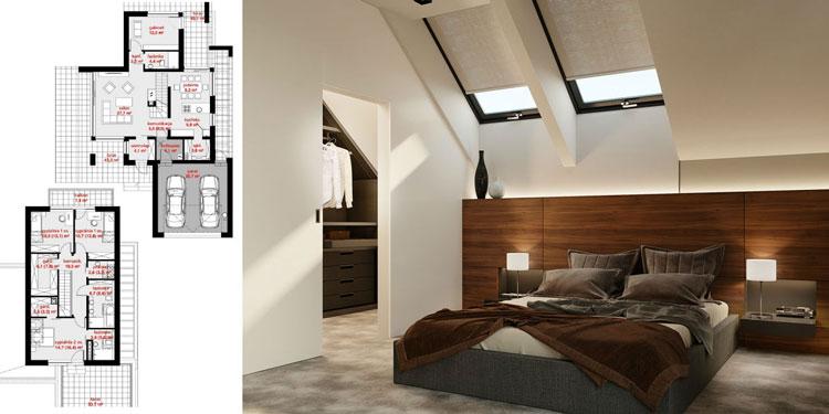 sypialnia i rzut domu jednorodzinnego z poddaszem uzytkowym
