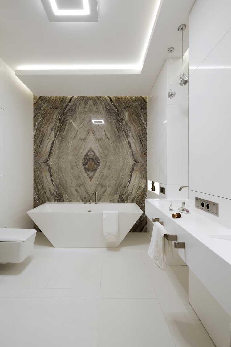 nowoczesna łazienka, kamień na ścianie