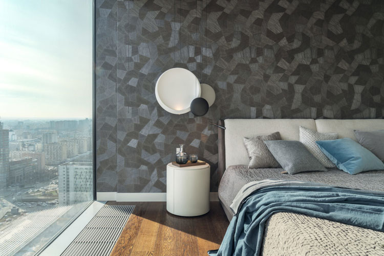 Sypialnia w apartamencie, Lampy Cosmos marki Vibia