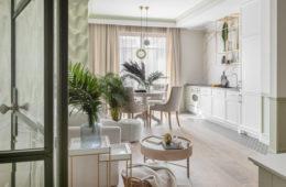 jasny salon z aneksem kuchennym