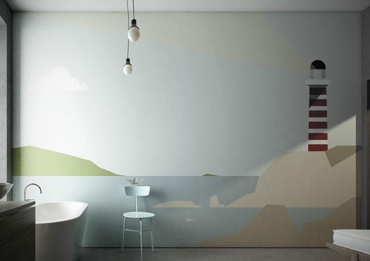 Minimalistycvzna tapeta do łazienki