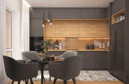 Nowoczesna zabudowa kuchenna w kolorze ciemnym szarym i w ciepłym drewnie