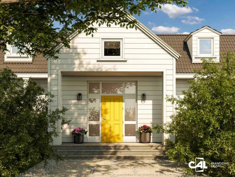 Żółte drzwi wejściowe w domu jednorodzinnym