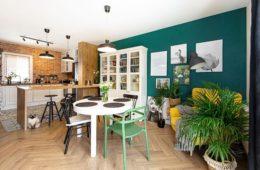 salon z aneksem kuchennym ze ścianą z cegły i ścianą pomalowaną na kolor zielony