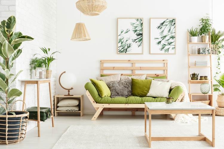 Obrazy w salonie z motywem roślinnym