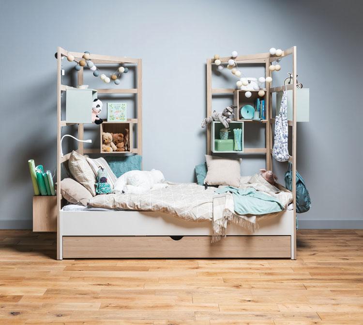Łóżko z półkami z kolekcji mebli vox stige