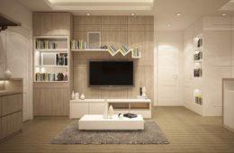 Salon w bieli i drewnie